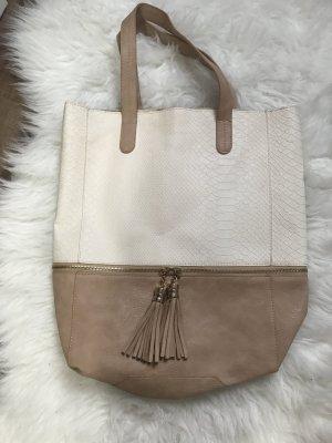 Shopper Handtasche Nude Kordel Beige Gold Schultertasche
