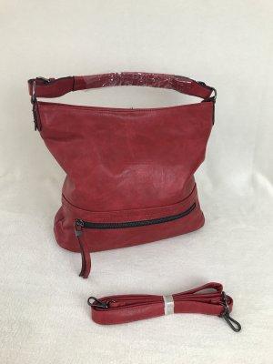 Crossbody bag red imitation leather