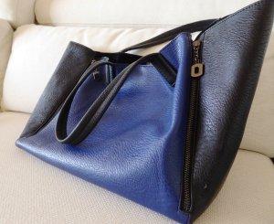 Shopper in Schwarz&Blau mit Tragegriffen