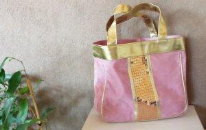Shopper klein pink/gold mit Pailletten - wie