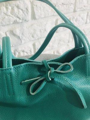 Shopper Ledershopper Handtasche Tasche lagune neu