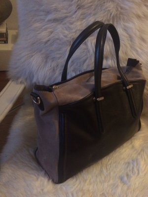 Massimo Dutti Carry Bag sand brown-dark brown leather