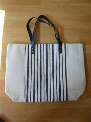 Aniston Shopper white-dark blue mixture fibre