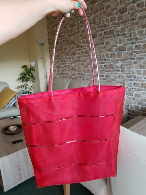 shopper mit pailletten rot