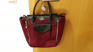 Shopper MODALU London, bordeaux Filz+ schwarzes Echt-Leder