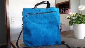 Zara Trafaluc Borsa shopper blu neon Scamosciato