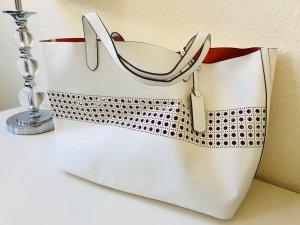 Shopper Ralph Lauren weiß Lochmuster Umhängetasche handtasche beuteltasche