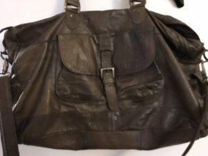 Shopper Schultertasche Tasche Leder Echtleder pieces Only dunkel braun