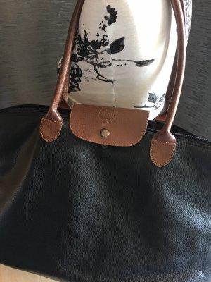 Shopper schwarz mit braun wie Longchamp