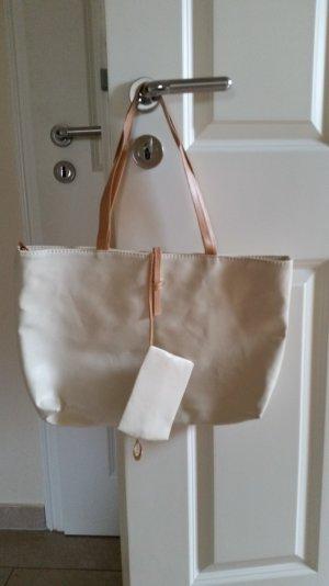 Shopper Tasche in Beige mit Beutel