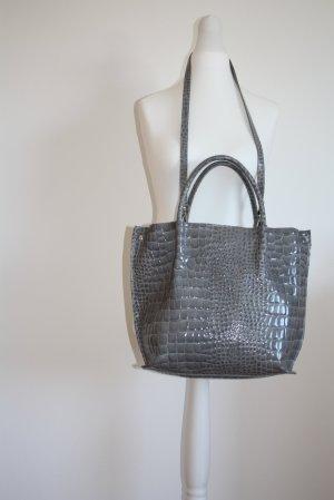 Shopper, Tasche, Leder, Lack-Leder, Farbe: Grau