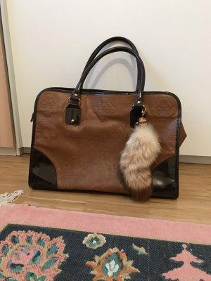 Shopper Tasche mit Fuchsschwanz Anhänger braun mit Muster