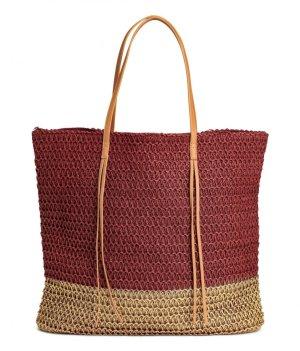 Shopper Tasche XXL Rot Gold Schultertasche Handtasche