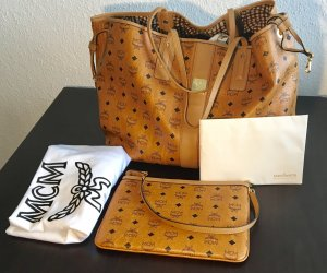 MCM Shopper cognac-coloured-neon orange