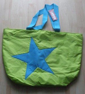 Borsa shopper verde prato-azzurro Fibra tessile