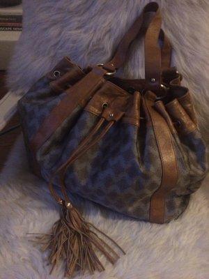 Shoppingbag, Beuteltasche, Nylon-Leder Mix, goldiges beiges Leder, sehr edel, gut erhalten