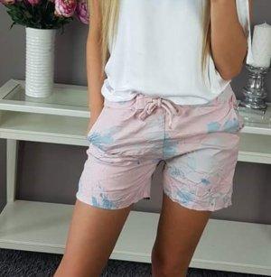 Shorts rosa pallido-azzurro