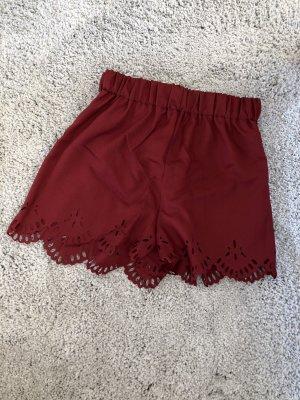 Shorts Bordeaux Spitze Hotpants Dunkelrot weinrot NEU