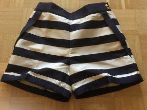 H&M Short taille haute blanc-bleu foncé
