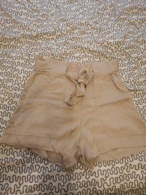 High-Waist-Shorts beige