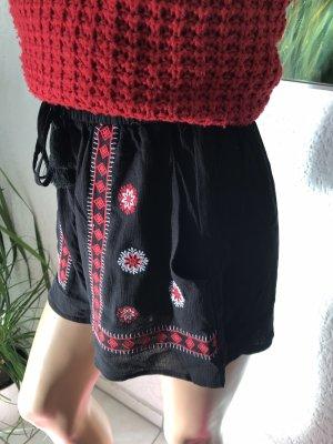 H&M Short taille haute noir-rouge foncé