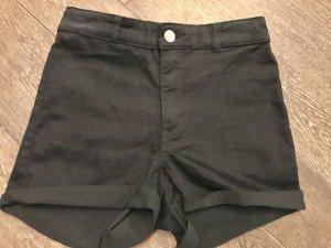 Shorts High-Waist-Shorts kurze Hose schwarz Hotpants