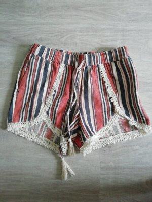 Shorts Hotpants Highwaist Streifen Spitze Lace Hippie Boho Ethno Indie Ibiza