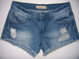 Amisu Shorts azul pálido-gris pizarra Algodón