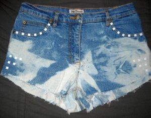 Shorts Jeans Hotpants Hot Pants kurze Hose blau gebleicht Nieten weiß 36 38 S M