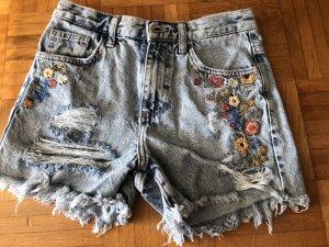 Shorts Jeans mit Blütenstickerei neu