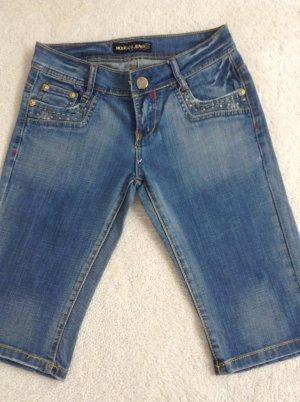 Shorts/ knielang / Gr. 34 XS/ blau-Gold