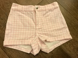 Shorts kurze Hose Hot Pants kariert rosa Creme High-Waist Shorts