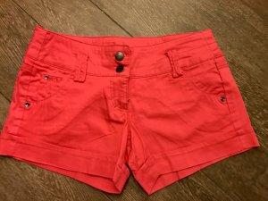 Shorts kurze Hose rot schlicht Hot Pants innen mit Punkten mit Schlaufen