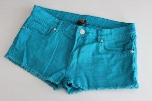 Shorts mit ausgefranstem Saum, türkis