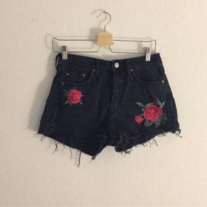 H&M High-Waist-Shorts anthracite-black cotton