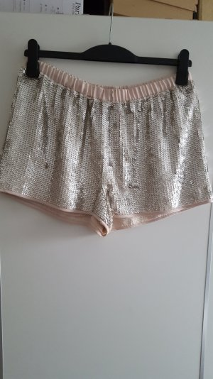 Shorts mit Pailletten in Nude