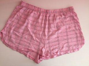 Shorts Schlafanzug kartiert rosa Baumwolle