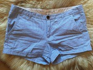 H&M Pantalon court bleu acier-blanc