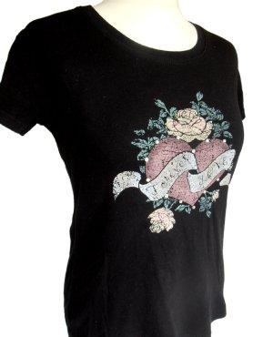 Shortsleeve Print-Shirt mit Tattoo-Motiv & Strass, Gr. M