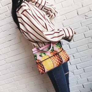 Shoulder Bag Ananas Bloggerstyle pink rosa