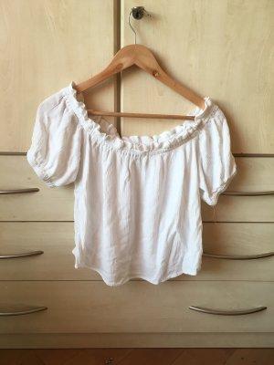 Bershka Camisa tipo Carmen blanco