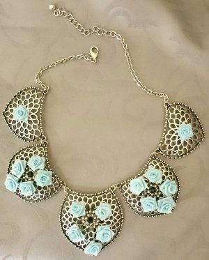 ShuShum Vintage Statement-Kette Blue Roses Silver Handmade Piece of Art