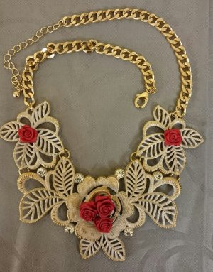 ShuShum Vintage Statement-Kette Red Roses Handmade Piece of Art
