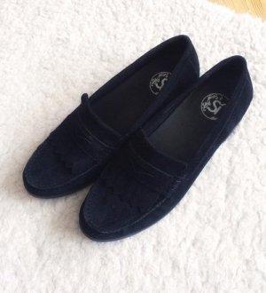 Si Barcelona Luxus Wildleder Loafer Slipper Mokkasins schwarz Leder Echtleder 38 NEU