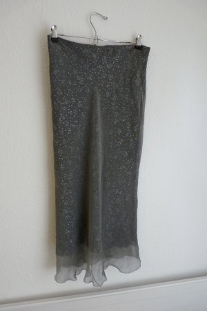 Sibilla Pavenstedt 100% Seide Zweiteiler Top Rock S 38 silber grau glitzer Party Fashion Blogger sexy