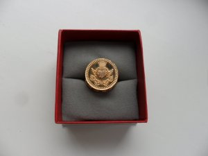 Siegelring Ring JETTE rosegold, Gr.53, Strass, Krone, massiv, Christ