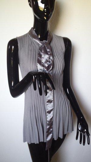 SIENNA, Ärmellose Bluse grau mit Satinband, Gr 34