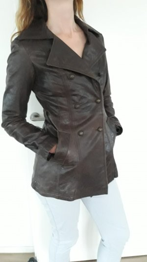 Sienna Leather Coat dark brown leather
