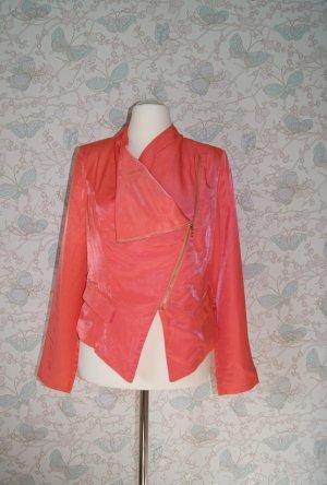 SIENNA Jacke im Bikerstil, leicht glänzend, koralle, Gr. 40 NEU