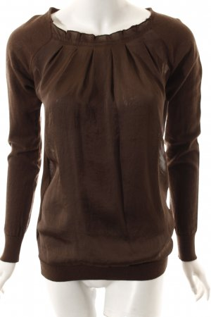 Sienna Strickpullover braun Materialmix-Look